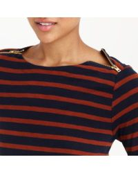 J.Crew - Blue Painter T-shirt With Zips - Lyst