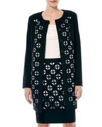 Laundry by Shelli Segal | Black Laser-cut Ponte Coat | Lyst
