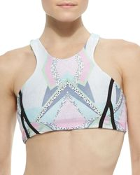 Beach Riot - White Rio Printed Racerback Swim Top - Lyst