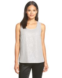 Lafayette 148 New York | Gray 'cleo' Sequin Silk Georgette Blouse | Lyst