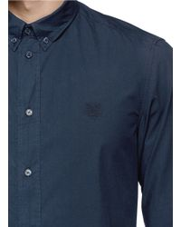 KENZO - Blue Tiger Logo Button Down Collar Shirt for Men - Lyst