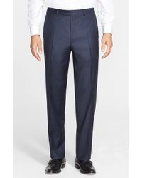 Canali - Blue Flat Front Solid Wool Trousers for Men - Lyst