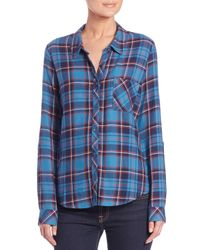 Soft Joie | Blue Anabella Draped Plaid Shirt | Lyst