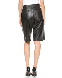 Nicholas - Tailored Knee Length Leather Shorts Black - Lyst
