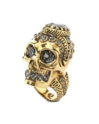Alexander McQueen - Orange Victorian Jewelled Skull Ring - Lyst
