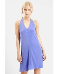 TOPSHOP | Blue Halter Neck Dress | Lyst