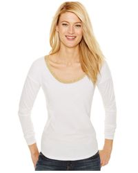 Michael Kors | Michael Petite Metallic-trim Scoop-neck Top | Lyst