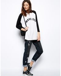 ASOS - White Oversized Baseball Top with Make Out Print - Lyst