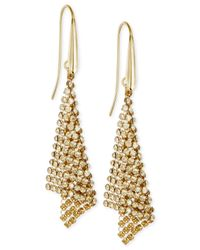 Swarovski - Metallic Gold-tone Crystal Mesh Drop Earrings - Lyst