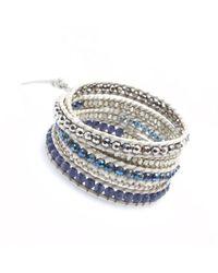 Nakamol - Multicolor Five Times Leather Wrap Bracelet-blue Mix - Lyst