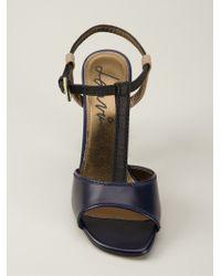 Lanvin - Blue Colour Block T-Bar Sandals - Lyst