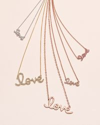 Sydney Evan | Pink Rose Gold Diamond Love Necklace | Lyst