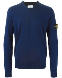 Stone Island - Blue V-neck Sweater for Men - Lyst