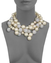 Kenneth Jay Lane - White Three-row Sparkle Cluster Necklace - Lyst