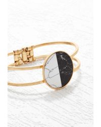 Forever 21 - Black Two-tone Faux Stone Cuff - Lyst