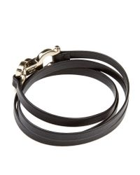 Ferragamo | Blue Double Gancini Clasp Leather Wrap Bracelet | Lyst