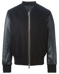 AMI - Black Panelled Bomber Jacket for Men - Lyst
