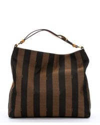 Fendi - Brown Canvas 'Pequin' Striped Hobo Bag - Lyst