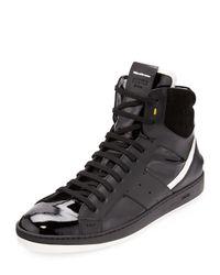 Fendi - Black Mens Mixedleather Hightop Sneaker for Men - Lyst