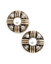Allison Reed | Black Faux Pearl & Crystal Round Earrings | Lyst