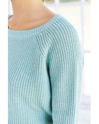 Kimchi Blue - Blue Off-shoulder Cropped Sweater - Lyst