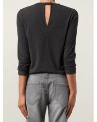Brunello Cucinelli - Gray Cotton Jersey with Swarovski Neck - Lyst