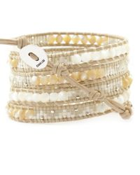 Chan Luu | Natural White Mix Beaded Wrap Bracelet On Petal Leather | Lyst