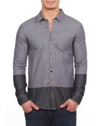William Rast | Gray Colorblock Sportshirt for Men | Lyst