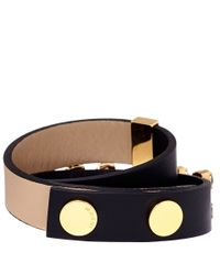 Marni - Black and Tan Leather Double Wrap Bracelet - Lyst