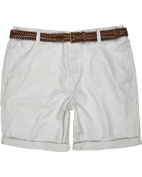 River Island - Gray Grey Belted Oxford Shorts for Men - Lyst