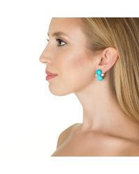 Bounkit | Blue Turquoise With White Topaz Earrings | Lyst