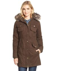 BCBGeneration | Brown Twill Parka With Faux Fur Trim | Lyst