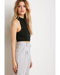 Forever 21 - Black Ribbed Knit Crop Top - Lyst