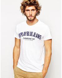 Replay - White T-Shirt Blue Jeans Flock Logo for Men - Lyst