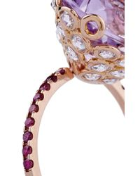 Lito | Metallic One Of A Kind 18K Rose Gold Ring With Amethyst | Lyst