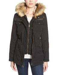 Vince Camuto | Black Faux Fur & Faux Leather Trim Twill Utility Parka | Lyst