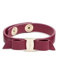 Ferragamo - Purple Vara Single Wrap Leather Bracelet - Lyst
