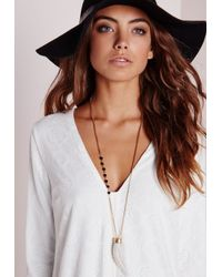 Missguided - Metallic Stone Charm Pendant Gold - Lyst
