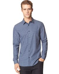 Calvin Klein | Blue Modern Fit Dobby Multi Check Sportshirt for Men | Lyst