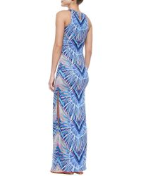Mara Hoffman - Blue Printed Jersey Fitted Maxi Dress - Lyst