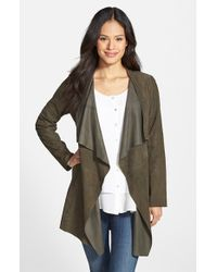Eileen Fisher Green Drape Front Soft Suede Jacket