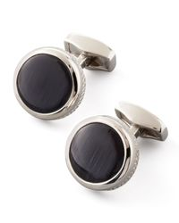 Tateossian | Black Round Fiber Optic Glass Cuff Links for Men | Lyst