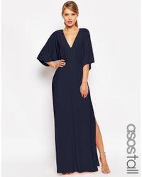 ASOS | Blue Tall Kimono Plunge Maxi Dress | Lyst