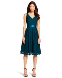 Adrianna Papell | Blue Lace Midi Dress | Lyst