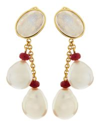 Assael | Red 18k Moonstone White South Sea Pearl Ruby Earrings | Lyst