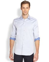 Saks Fifth Avenue | Blue Solid Cotton Sportshirt for Men | Lyst
