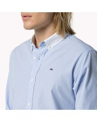 Tommy Hilfiger | Blue Cotton Contrast Collar Shirt for Men | Lyst