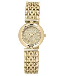 Anne Klein | Metallic Ladies Goldtone Watch With Link Bracelet | Lyst