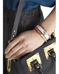 Michael Kors | Red Fuchsia Padlock Embellished Bangle | Lyst
