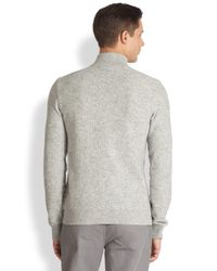 Michael Kors | Gray Leather Trimmed Sweater for Men | Lyst